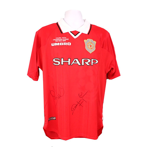 Yorke and Cole Signed Manchester United Champions League Shirt