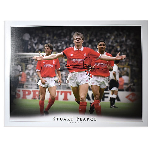 Stuart Pearce Nottingham Forest Signed Picture - Signed in Black