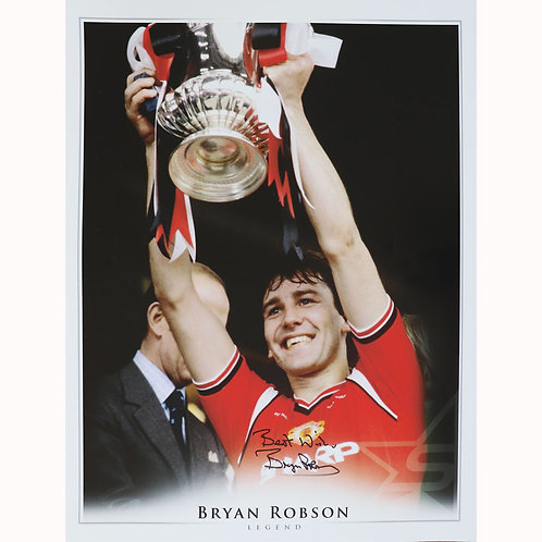 Bryan Robson FA Cup Manchester United Signed Picture