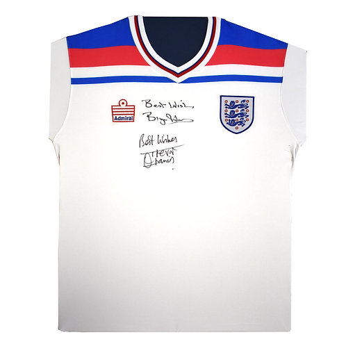 Signed England Shirt Trevor Francis and Bryan Robson -World Cup 1982