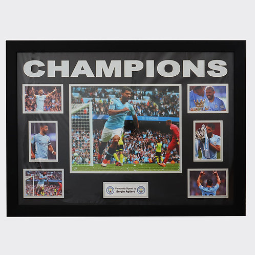 Sergio Aguero Manchester City Signed and Framed Montage