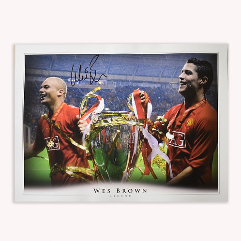 Wes Brown Manchester United 2008 Champions League Signed