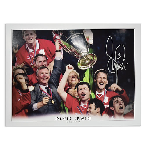 Denis Irwin Signed Manchester United Champions League Picture