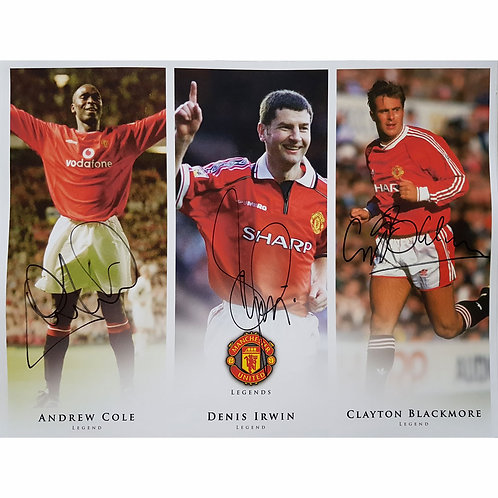 Irwin, Cole and Blackmore Man United Signed Montage
