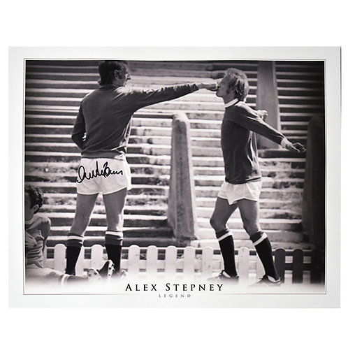 Alex Stepney Signed Manchester United Denis Law Picture
