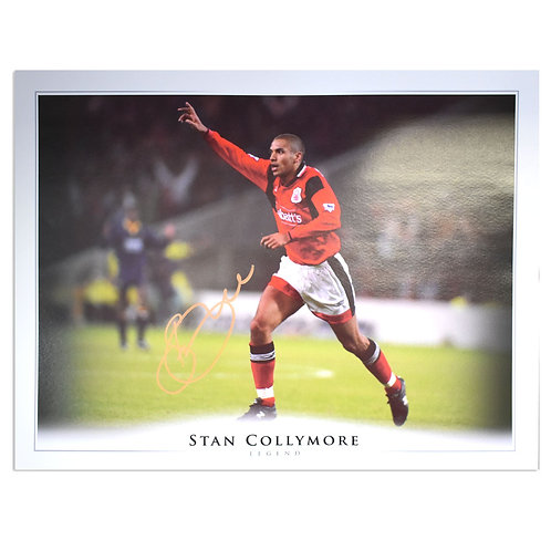 Stan Collymore Signed Nottingham Forest Celebration Picture