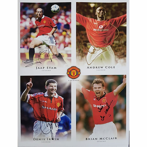 Stam, Cole, Irwin, McClair Man United Signed Montage