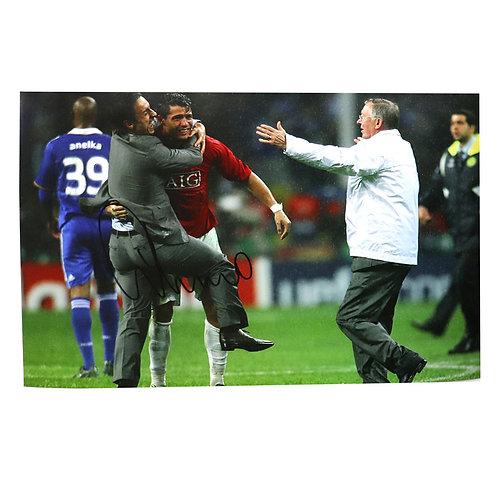 Gary Neville Champions League Celebration Photograph