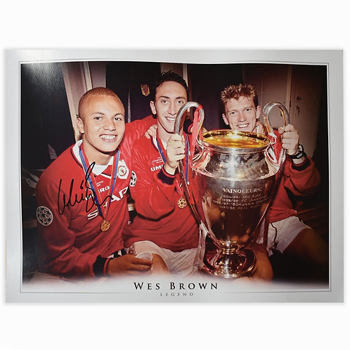 Wes Brown Champions League Manchester United Signed Picture