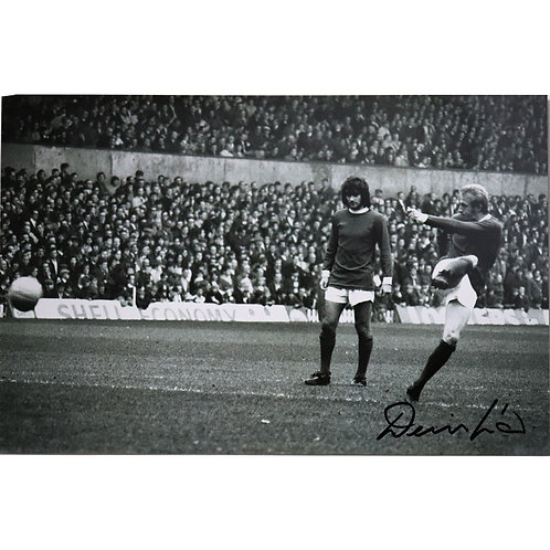 Denis Law Manchester United Signed Black and White Photo