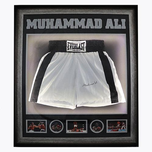 Muhammad Ali Signed Boxing Shorts - Framed