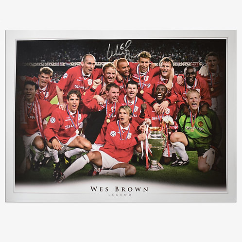 Wes Brown Signed Manchester United Champions League Picture