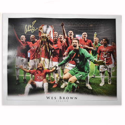 Wes Brown Manchester United Champions League 2008 Large Signed