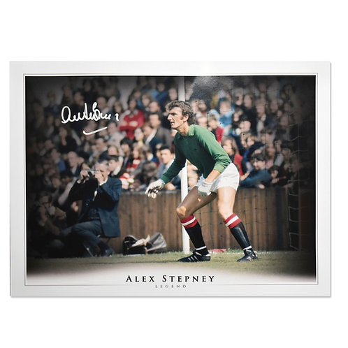 Alex Stepney Signed Manchester United Picture
