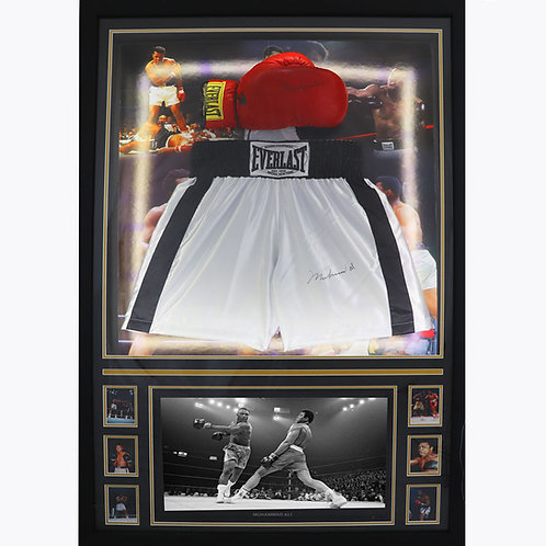 Muhammad Ali Signed and Framed Shorts and Gloves