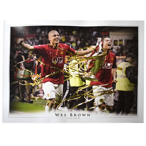 Wes Brown Champions League 2008 Signed Picture