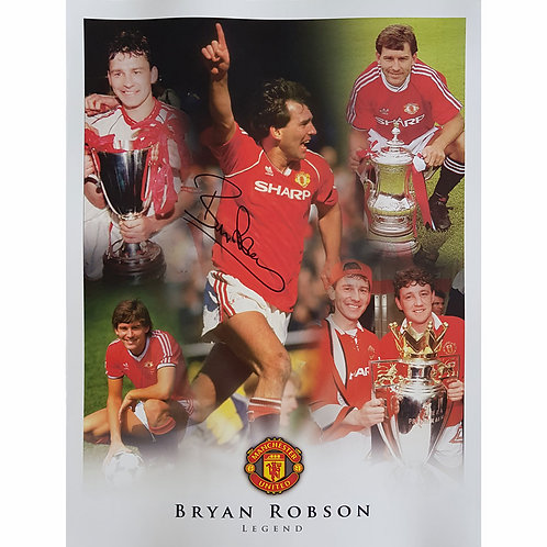 Captain Marvel Bryan Robson  Man United Signed Montage