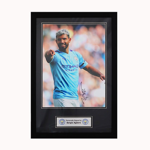 Sergio Aguero Manchester City Signed Picture