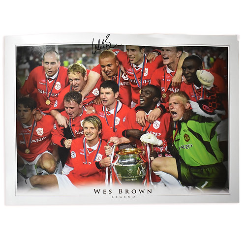 Wes Brown Manchester United 1999 Champions League Signed