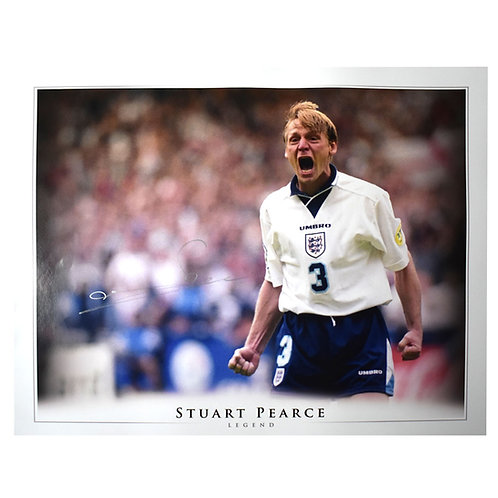 Stuart Pearce England Euro 96 Signed Picture - Signed in Silver