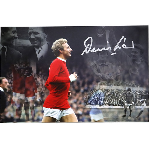 Denis Law Manchester United Montage Signed Photo