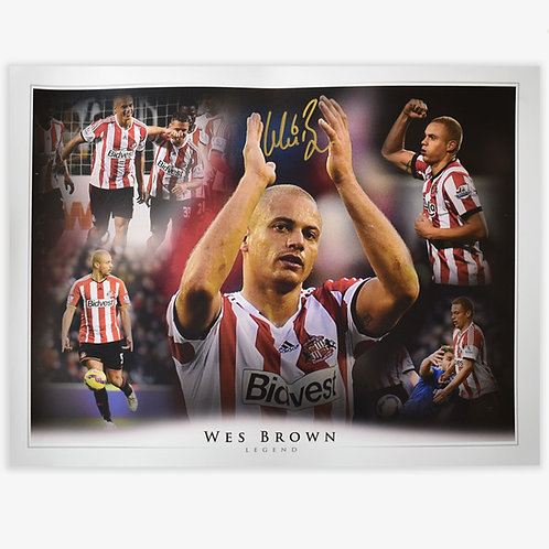 Wes Brown Sunderland Signed Montage
