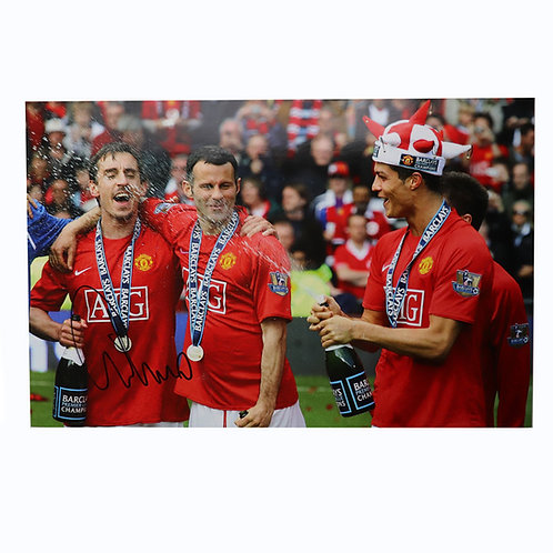 Gary Neville Signed 2008 Title Celebration Photograph