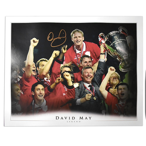 David May Signed Champions League 1999 Picture