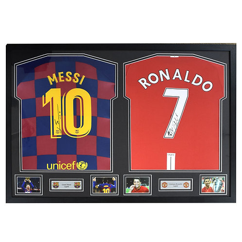 Messi and Ronaldo Signed and Framed Shirts
