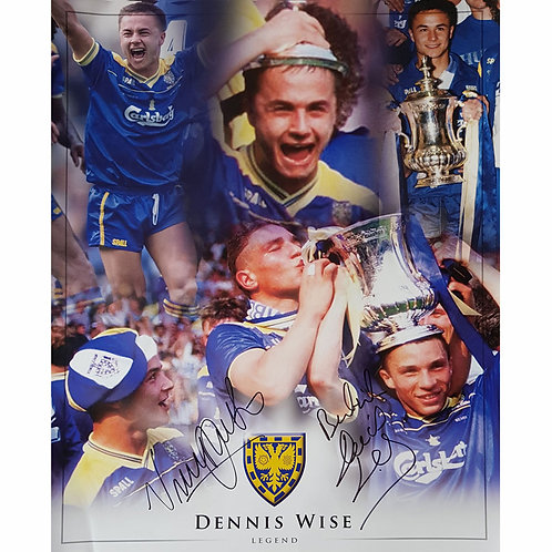 Vinnie Jones and Dennis Wise Signed Wimbledon FA Cup Montage
