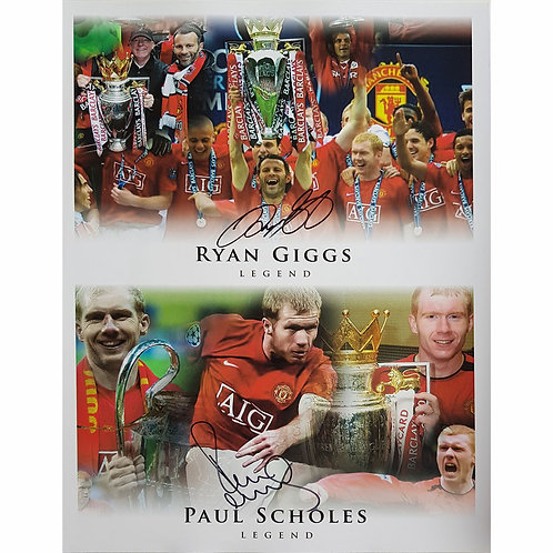 Ryan Giggs and Paul Scholes Signed Manchester United Montage