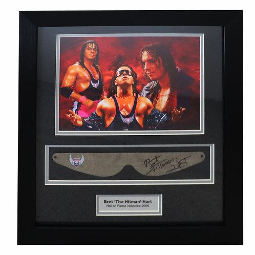 Bret Hart Glasses Signed and Framed