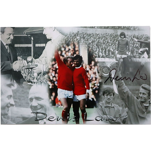 Denis Law Signed Manchester United Photo