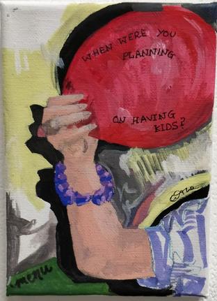 The Menu, Acrylic on canvas, Size: 15 x 10 cm