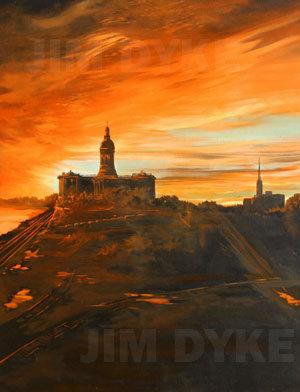 Print: 1840 Mo. Capitol Sunrise oil
