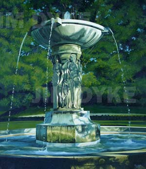 Print: Fountain of the Arts oil