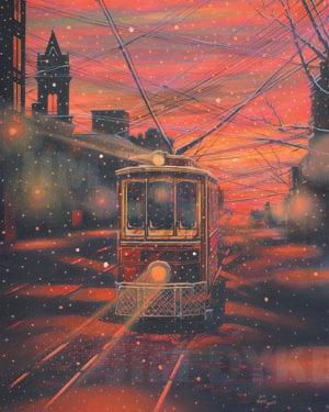 Print: Old Trolley, Jefferson City oil