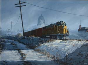 Print: Snow Train, Mo State Capitol oil