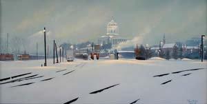 Print: Quiet Snow, Missouri Capitol oil