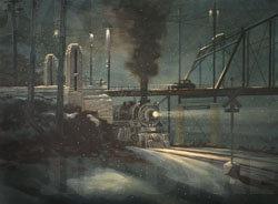 Print: Old Bolivar St. Bridge oil painting