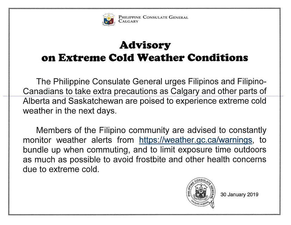 A-2-2019 (Advisory on Extreme Cold Weath
