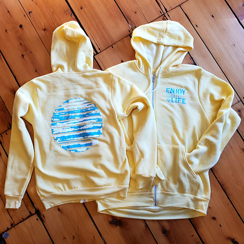 Adult | Full-Zip Hooded Sweatshirt | Sun Out | Yellow