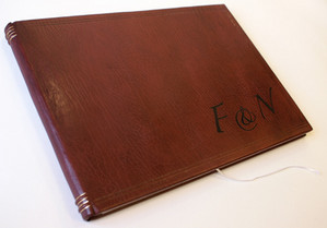 Bespoke Full Leather Wedding Album with Leather Onlay's