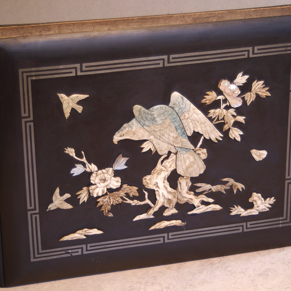 Japanese Lacquered Wooden Board Restorat