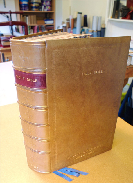 Large Family Holy Bible - New Tan Full Leather Binding