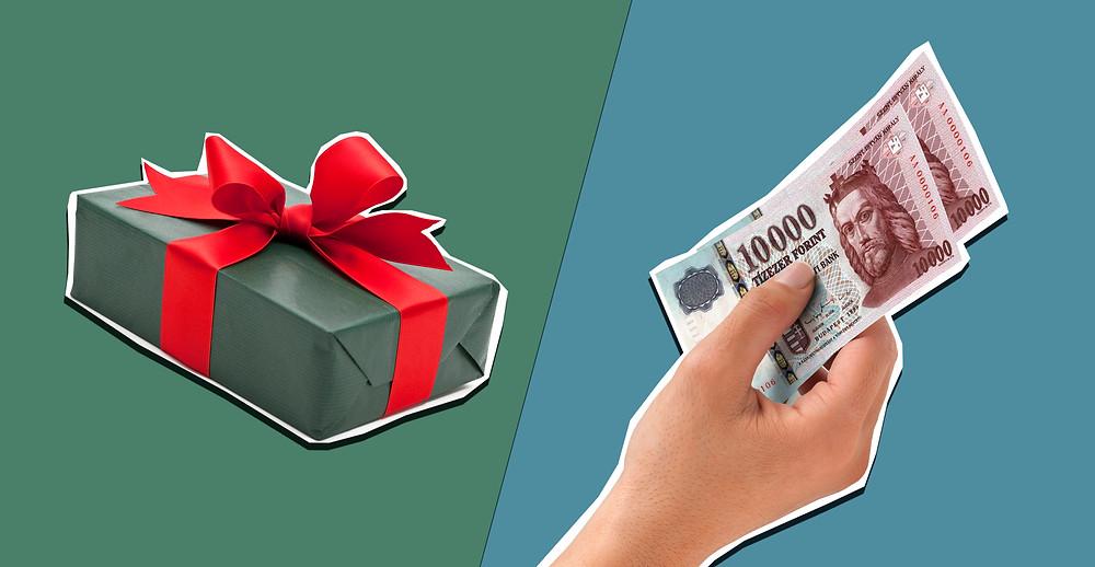készpénz ajándékba