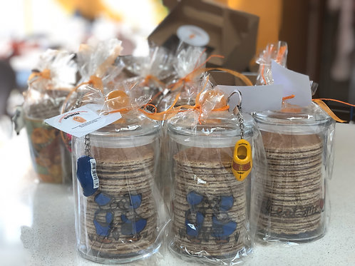 15-Stroopwafels in a hand painted glass jar