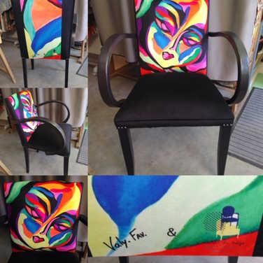 """1 tableau/1 fauteuil Bridge coworking avec l'atelier du siège 43 d'après le tableau """"Visage"""""""