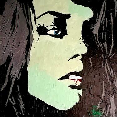 La fille vert de gris