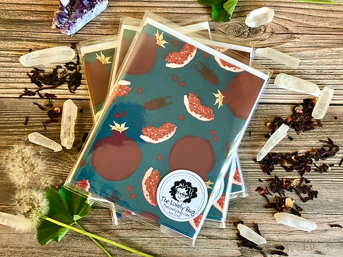 Beetle and pomegranate cards